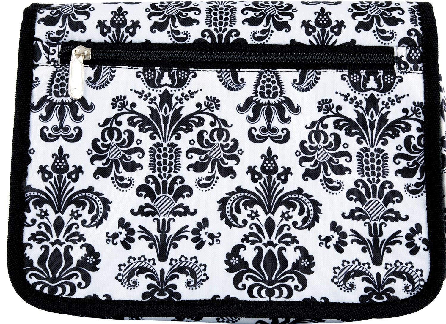 """[""""Little girls will love carrying their Bible to church in this cute \r\nBible cover. The canvas Bible case is covered in black and white damask and features a zippered closure. \r\n The convenient outside zippered pocket, spine handle and pen loop make \r\nit easy for her to carry all of her essentials in this Bible cover.Holds Bibles up to 9-1\/2\""""(L) x 7\""""(W) x 1-1\/2\""""(D)""""] $19.99"""
