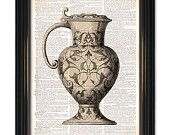 Classic vase pottery dictionary art print. On Upcycled Vintage Dictionary Paper-8x10.5 inch. Buy any 3 prints get 1 free or 4 get 2 free!