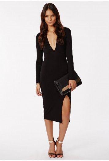 Jersey midi dress split