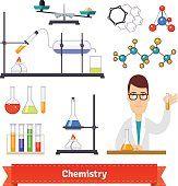 Equipo de química y químico conjunto de coloridas