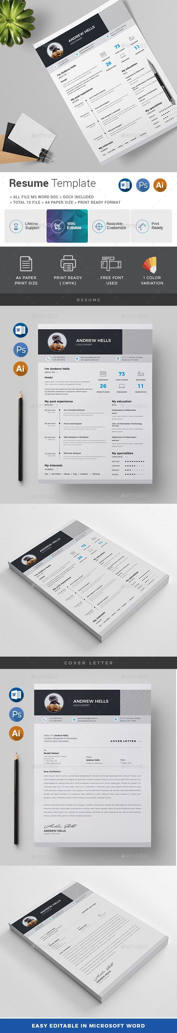 Resume  Cv Template Psd Vector Eps Ai Illustrator Ms Word