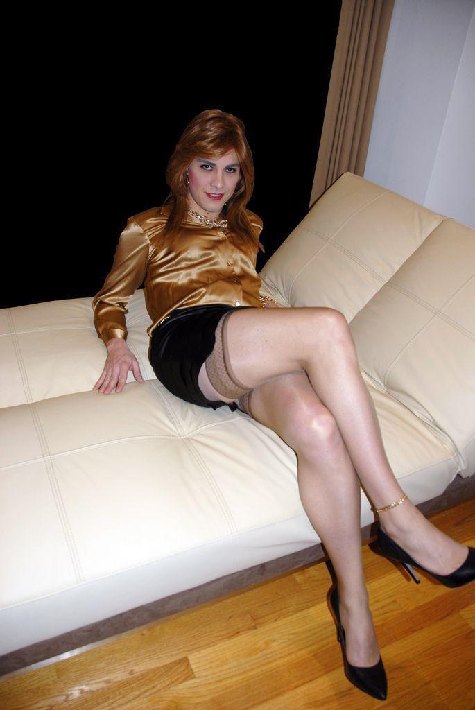 Crossdresser tranny in pantyhose nylon and urethral sounding dildo toy 2