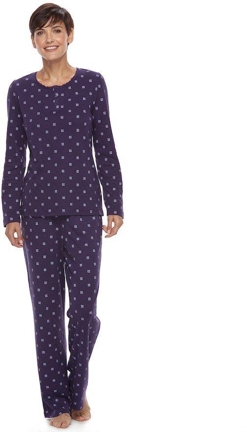 d058453e5909 Women's Croft & Barrow® Pajamas: Textured Knit Sleep henley & Pants ...