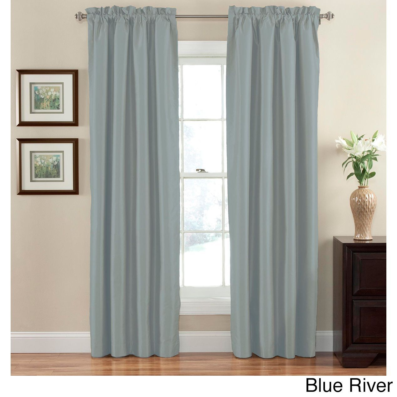 Eclipse Hayden Solid Blackout Curtain Panel Blue River 95 Size 42 X