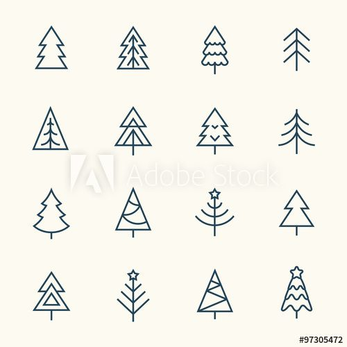 Christmas Tree Line Icon Set In 2020 Christmas Tree Drawing Christmas Icons Christmas Tree Photography