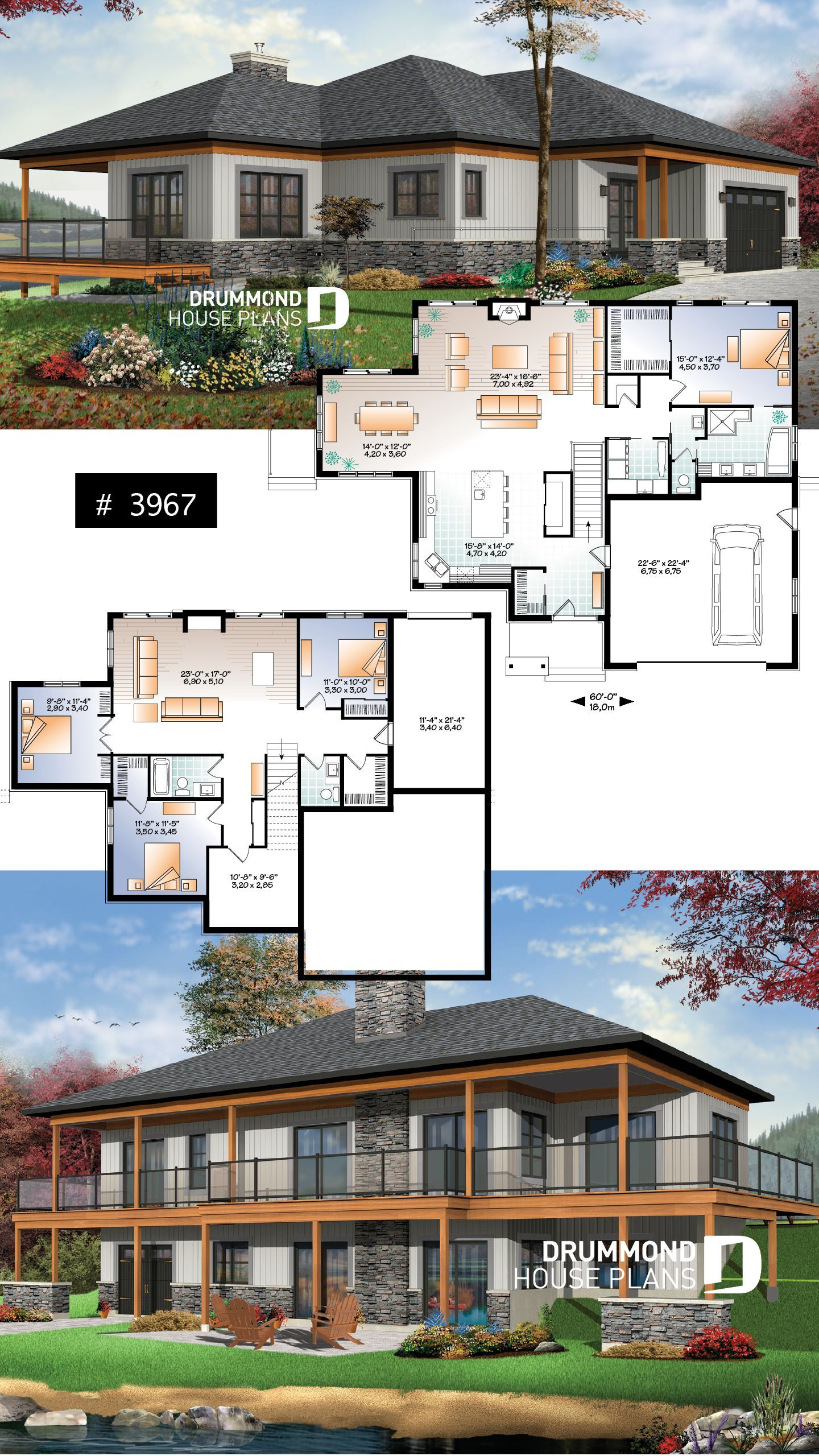 Modern Lake Front House Plan With Ensuite In 2020 Basement House Plans Lake Front House Plans Lake House Plans