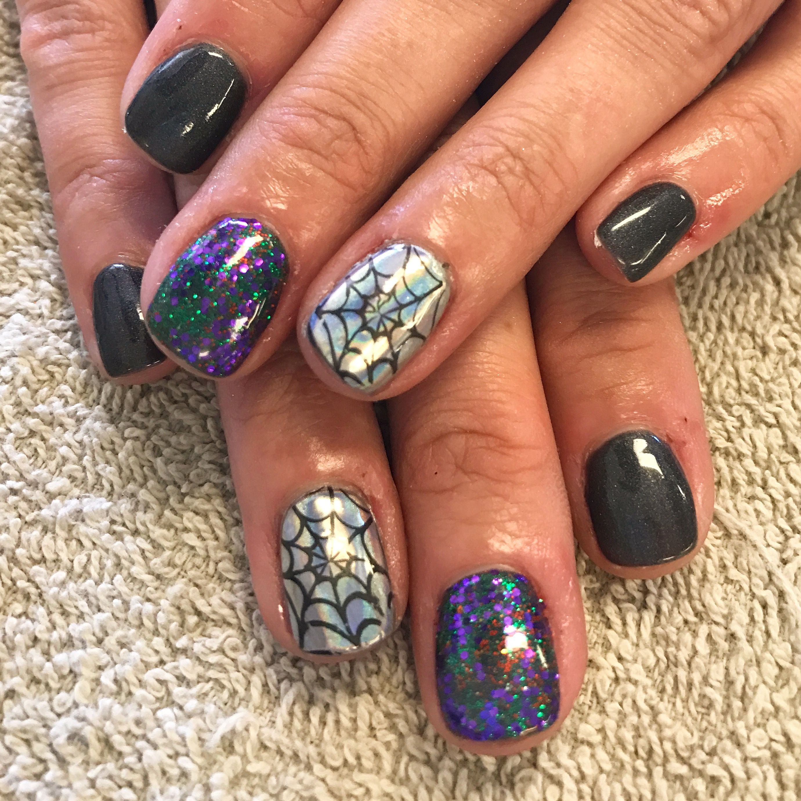 Christmas Acrylic Nails Grey: Halloween. Nails. Grey. Hologram. Spider Web. Green