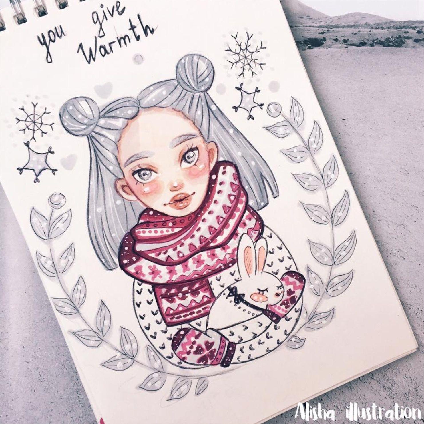 Летний отдых, прикольные картинки для срисовки в лд на тему зима