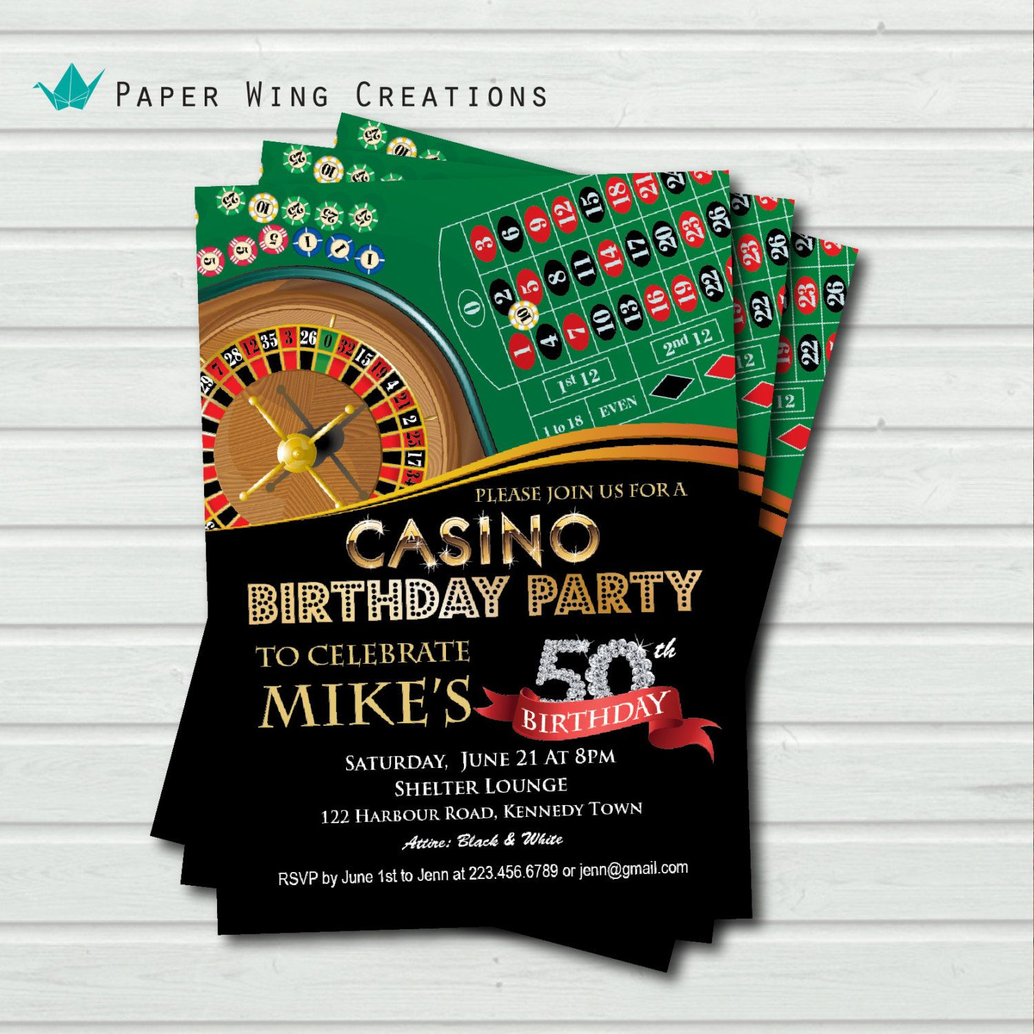 Casino Theme Birthday Invitation Las by ThePaperWingCreation