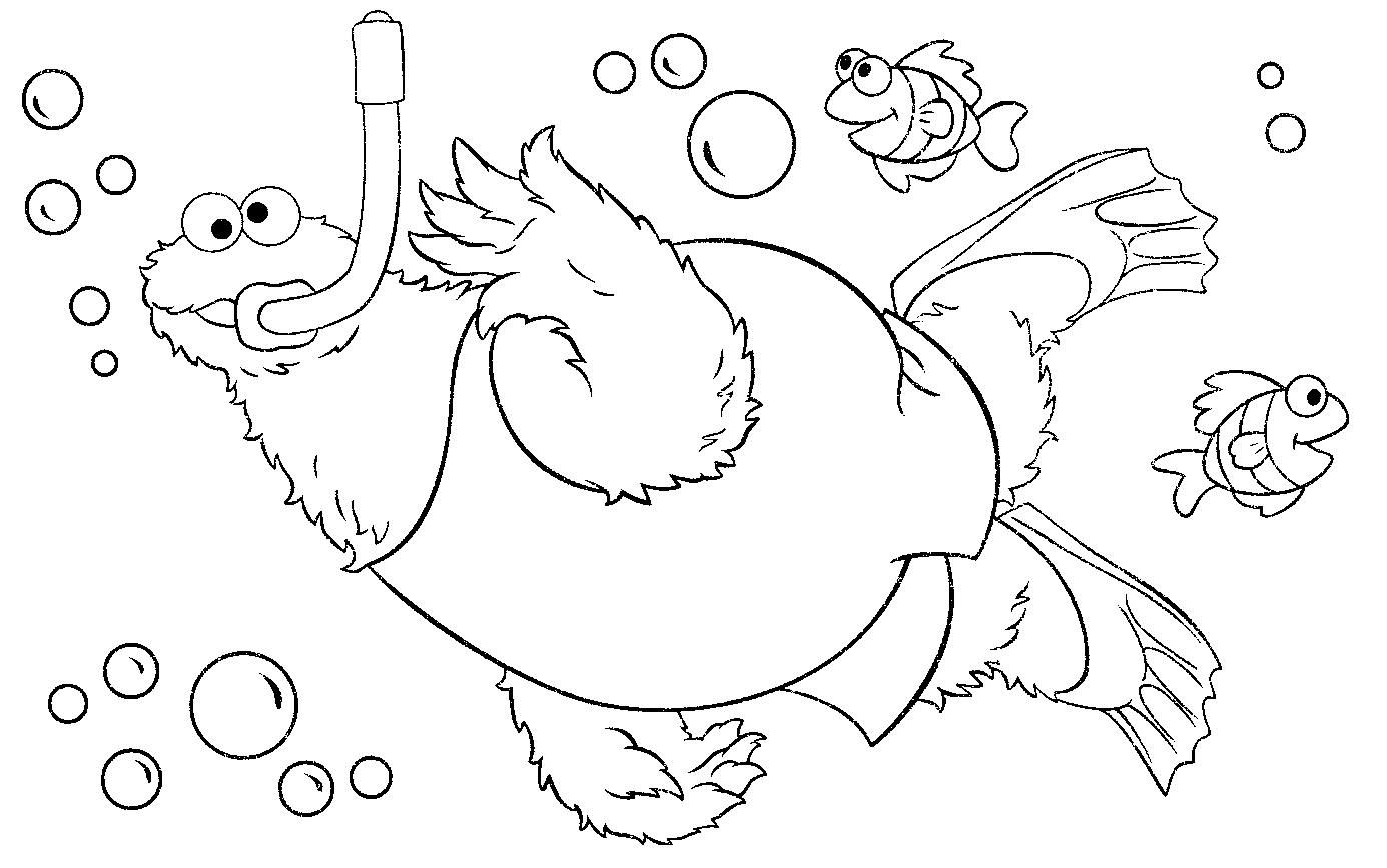 Cookie Monster / Snorkeling (Coloring Pages)  Monster coloring