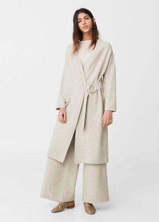 Buckled linen-blend cardigan   MANGO