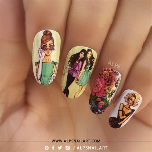 """""""I am women..I design my Nails, I design my Dress, I design my Shoes, I design my DESTINY...I am women. """"; - @AlpsNailArt  Sharing here my women's day nails, Inspired by 4 friends of movie 'Sex in the city"""", who inspire me to be Bold and Beautiful, be Confident, be Myself!  Dedicated to all bold and beautiful women I know .. Happy women's day..."""