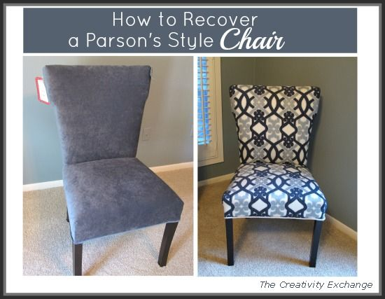 Merveilleux How To Recover A Parsons Style Chair, Reupholster, I Purchased A Winged  Parsons Chair From Marshalls For 100 00 And Recovered It With Some  Beautiful Fabric ...