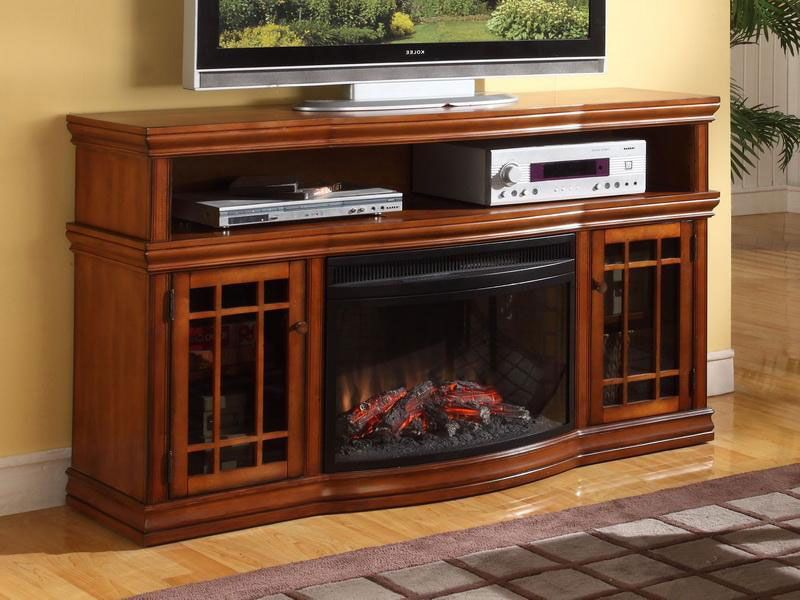 Dwyer Electric Fireplace Entertainment Center In Burnished Pecan