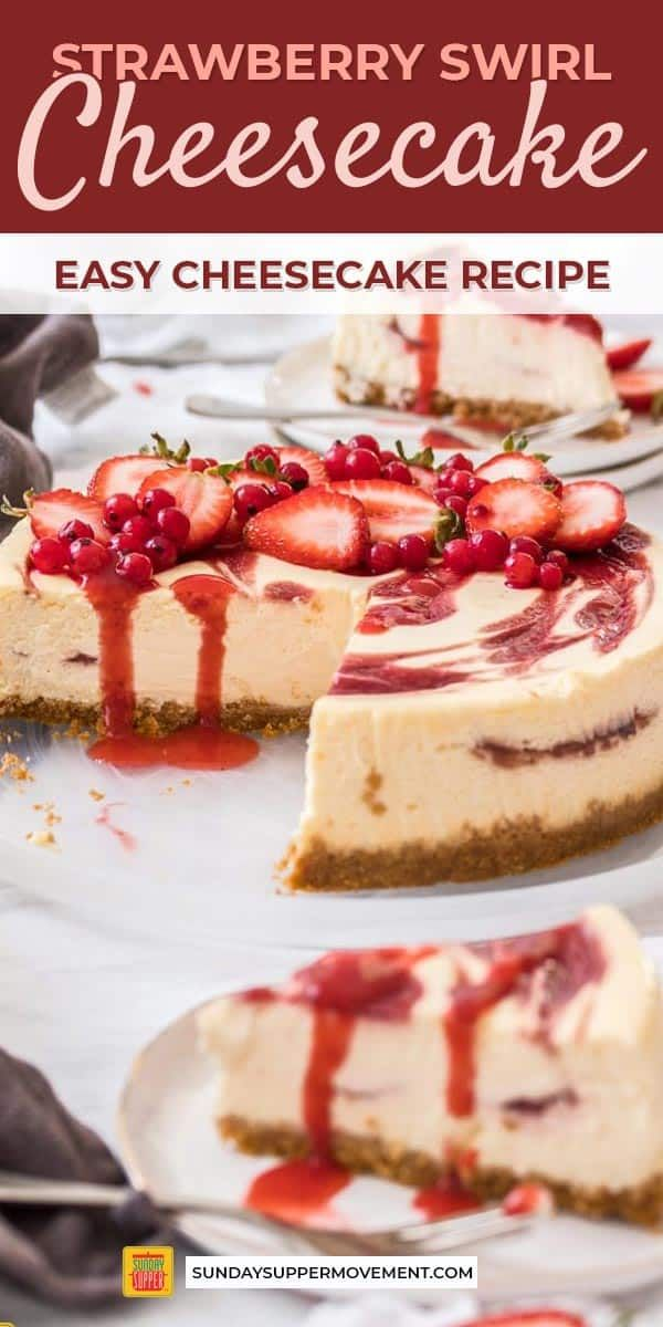 Photo of Beautiful strawberry swirl cheesecake is an easy dessert recipe made with simple…