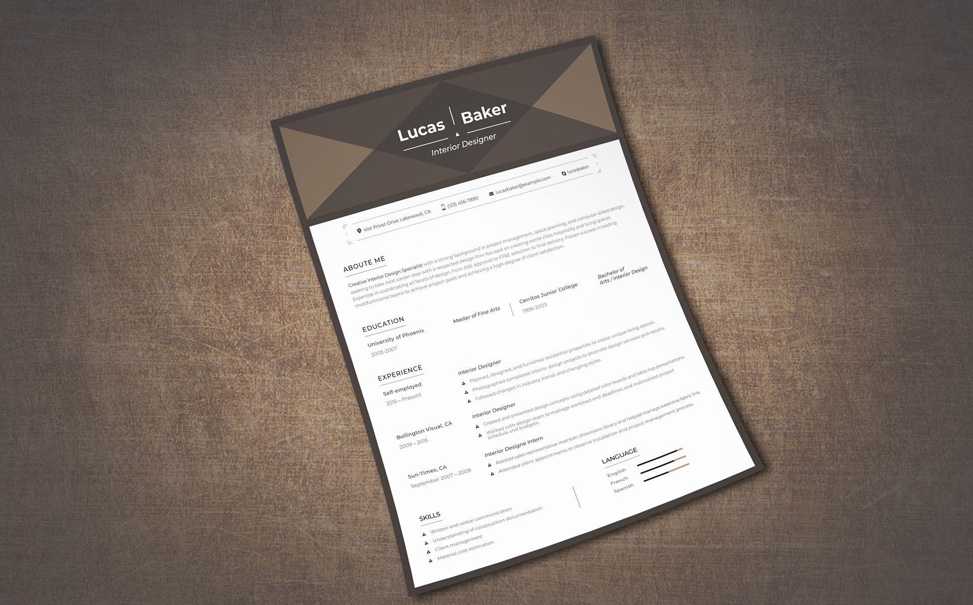 Lucas Baker Interior Designer Resume Template 68039 Resume