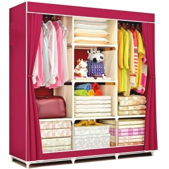 Exceptional Buy Lucky Fashion Cloth Storage Wardrobe Wine Red Online At Lazada  Philippines. Discount Prices And