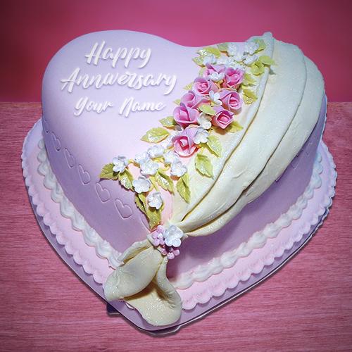 Write Name on Anniversary Cake Wishes Happy anniversary