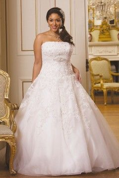 A-line V-neck Chapel Train Lace Fabric Plus Size Wedding Dresses With  Beading Style