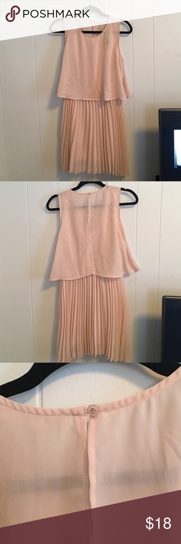 Makeup with light pink dress  Light pink dress Elodie light pink accordion style dress One button