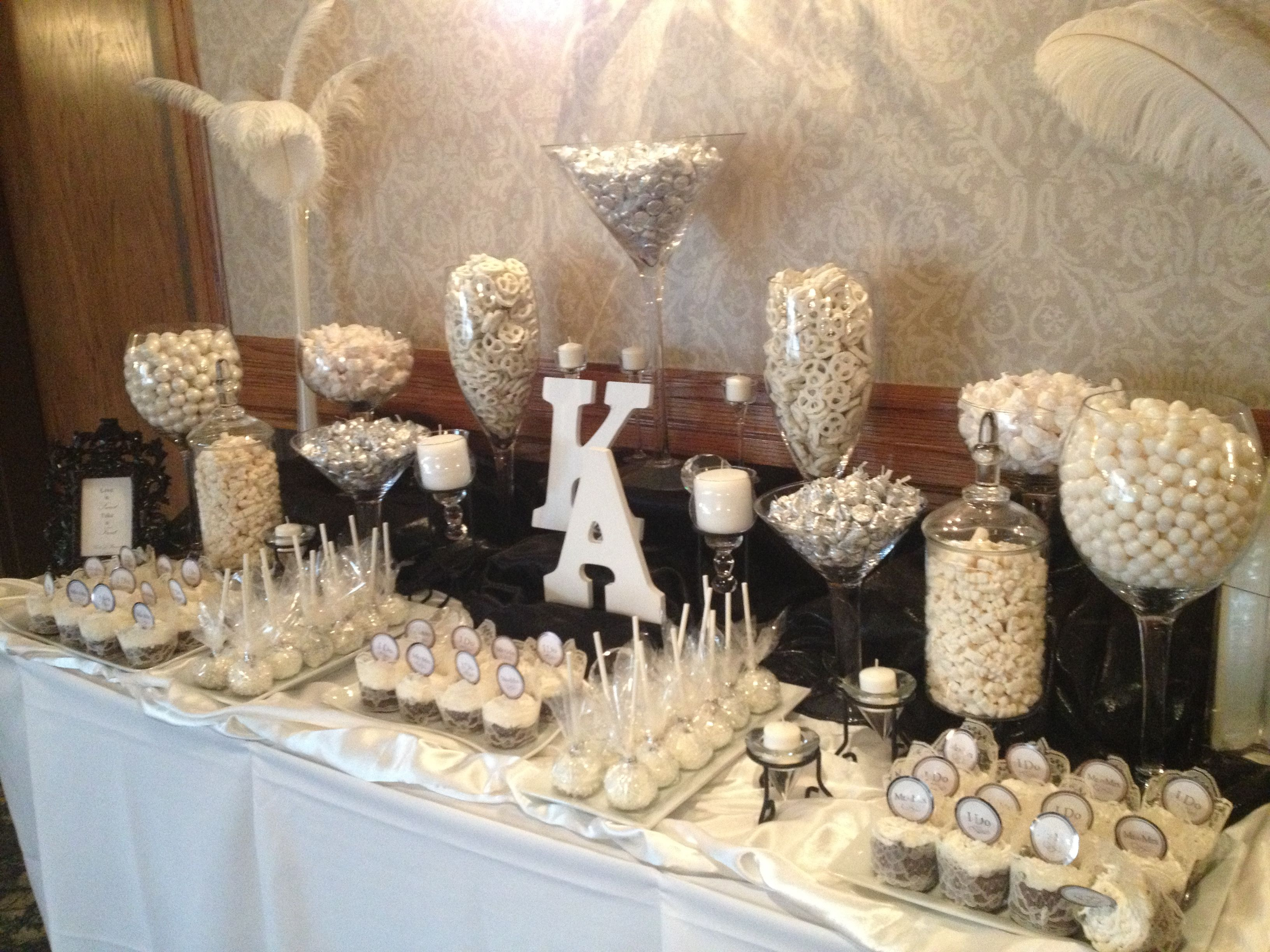 juan camilo wedding candy bar White Black Wedding Candy Buffet by Sweet Tooth Candy Buffets facebook com SweetToothBuffets