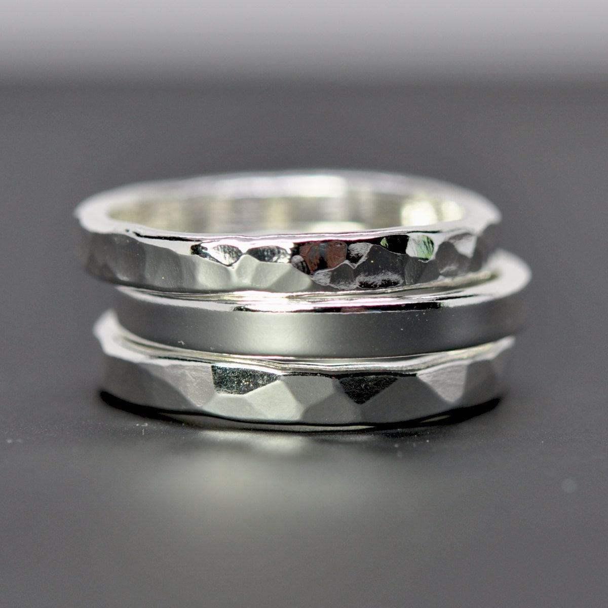 Stacking Silver Rings Pure Silver Eco Friendly Recycled Metal