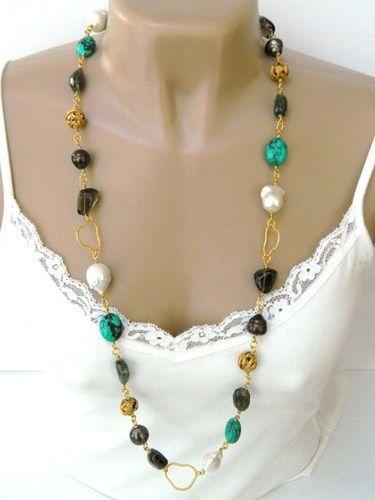 multi baroque pearl gold opera style handmade