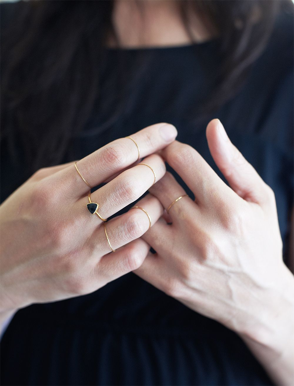 Black triangle onyx gold ring by friedasophie iedasophie