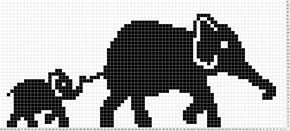 Elephant Mum & Baby Olifant en olifantje, patroon om te borduren of te breien.