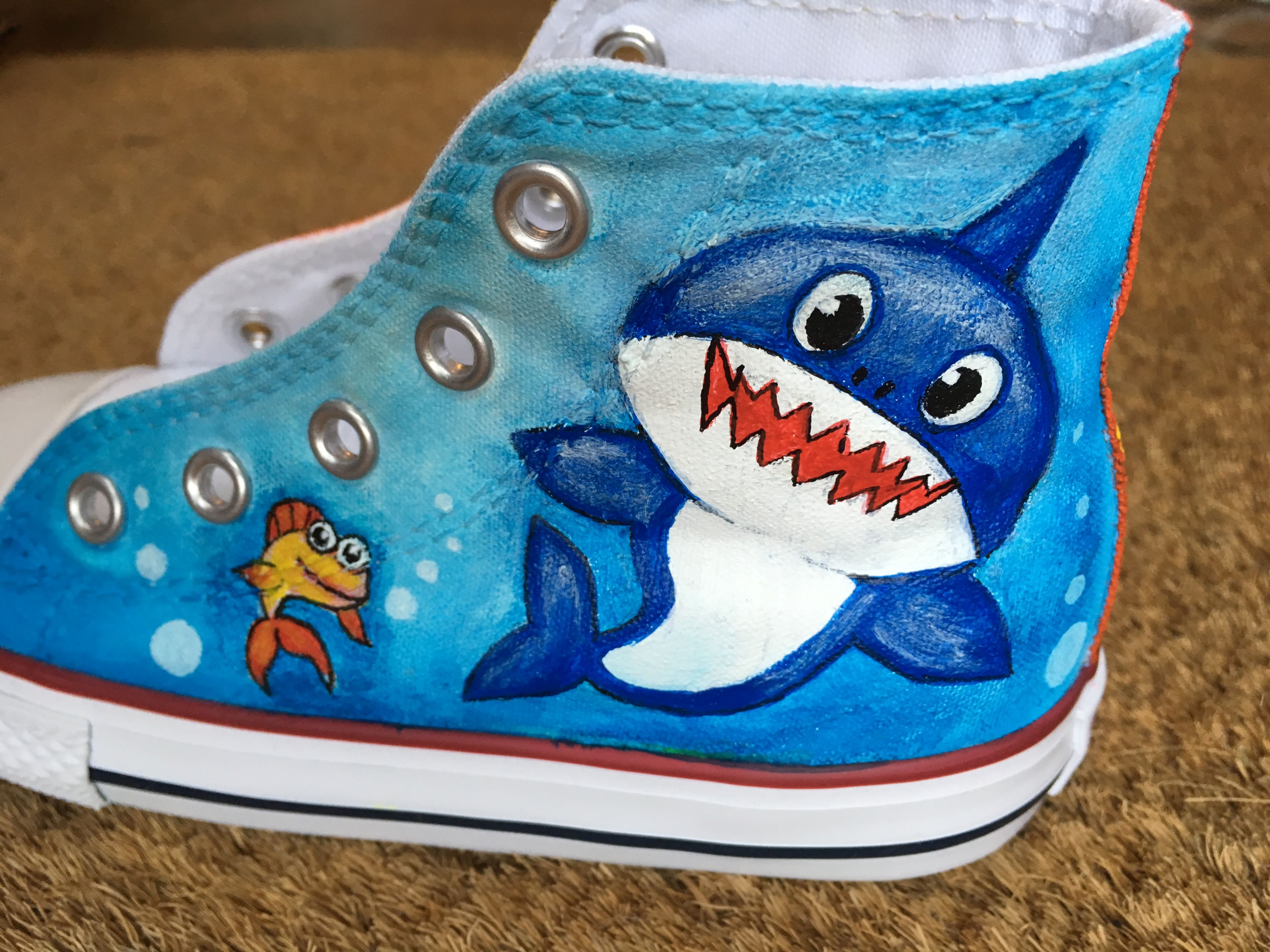 26ef9a5f10c Baby Shark painted shoes, painted shoes, painted converse, @supershoesuk