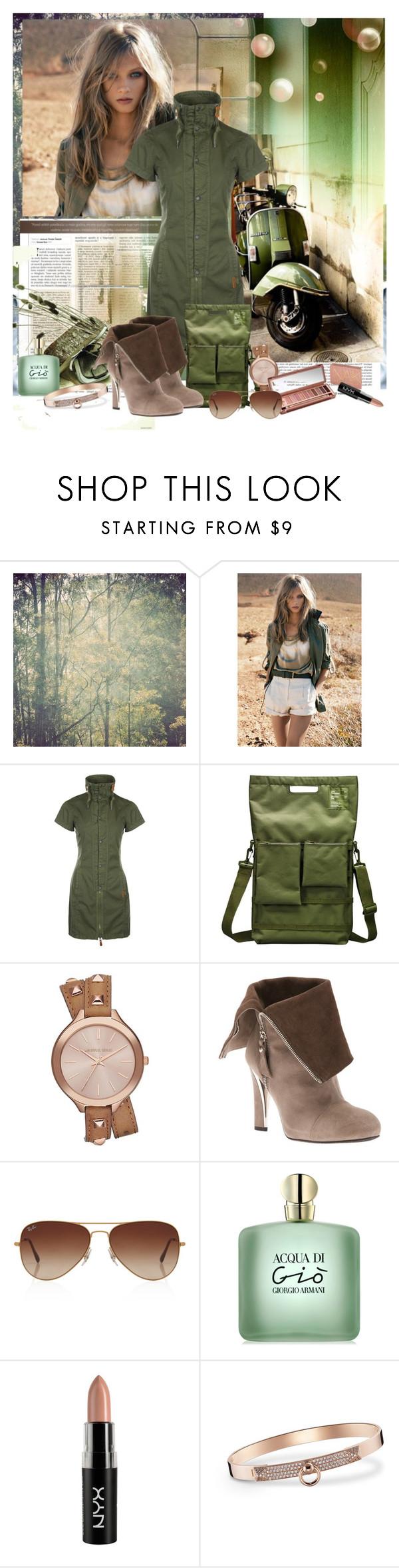 """green"" by biljana-miric-ex-tomic ❤ liked on Polyvore featuring MANGO, Wildfang, Bench, Unit Portables, Michael Kors, Stuart Weitzman, Urban Decay, Rayban, Giorgio Armani and NYX"
