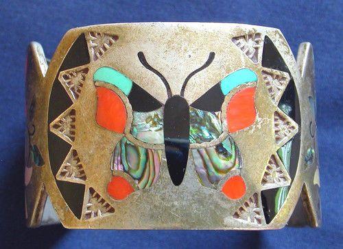 ZUNI GSB STERLING MULTI STONE INLAY BUTTERFLY BRACELET #Handmade
