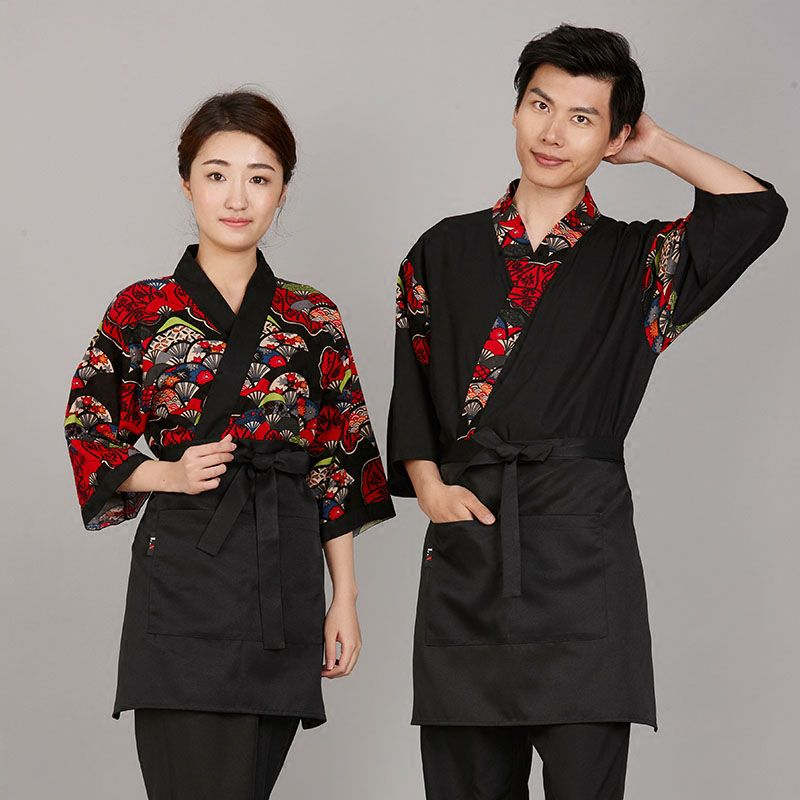 Japanese Happi Sushi Chef Jacket Coat Serving Short Kimono Sushi Hotel Uniform