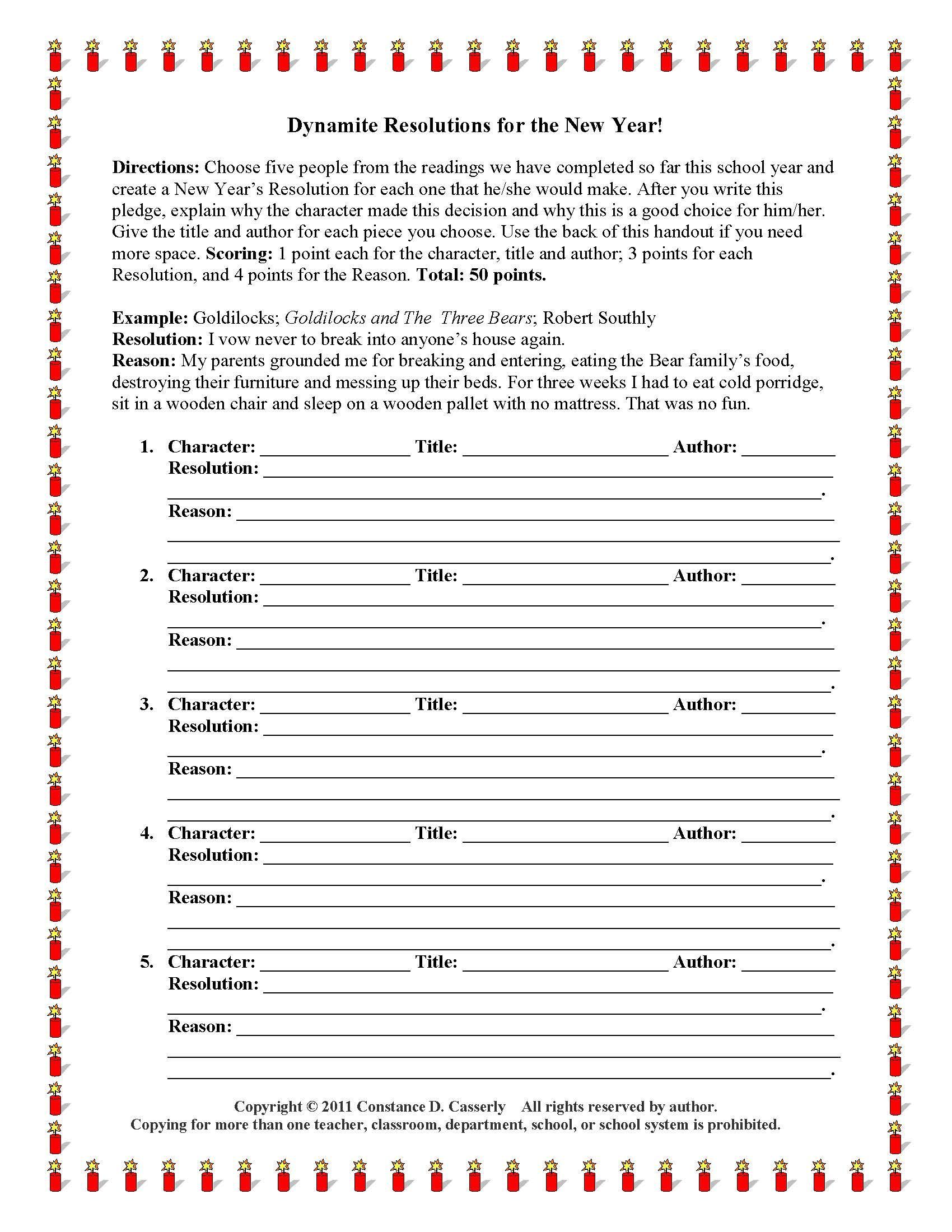 New Year S Day Writing Activity Dynamite Resolutions For