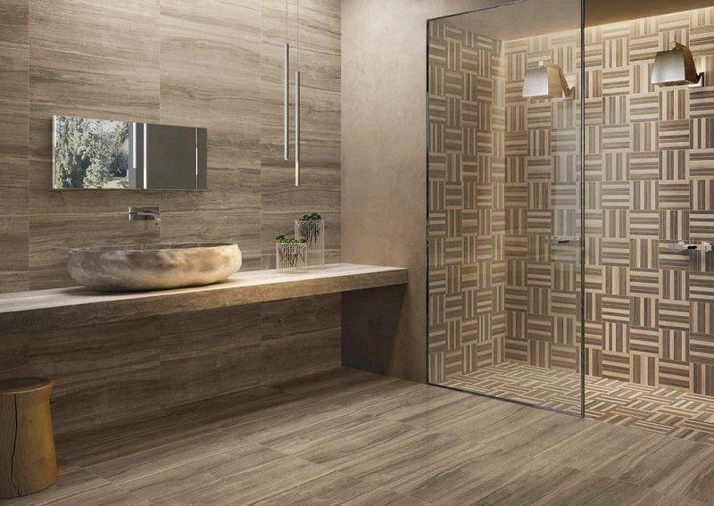 salle de bain moderne avec un carrelage mural et de sol aspect bois - carrelage en pierre naturelle salle de bain