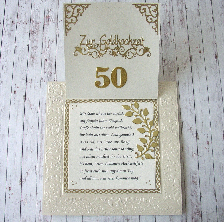 Edle 3d Gluckwunschkarte Zur Goldenen Hochzeit Mit Text Geschenke Zur Goldenen Hochzeit Einladung Goldene Hochzeit Texte Goldene Hochzeit