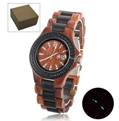 Topwell® Date Calendar Wristwatches Handmade Mens Solid Wood Watch Natural Maple Wood & Red Sandalwood Wooden Watches Wooden Quartz Analog Men Watch Quartz Calendar Date Wood Wrist Watch Gift Giving Watches $42.00
