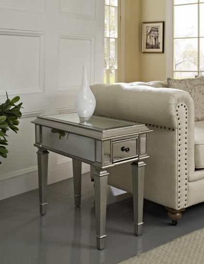"Find it at <a href=""http://www.bombaycompany.com/"" target=""_blank"">bombaycompany.com</a>  - Francine Mirrored End Table"