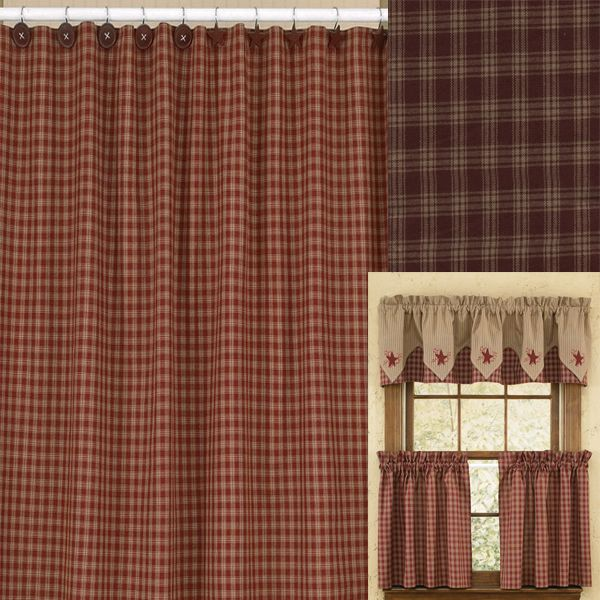 Sturbridge Wine Checkered Fabric Shower Curtain By Park Designs The From