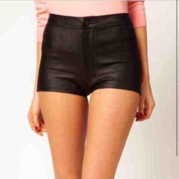Topshop Shiny Black High Waisted Hot Pant Shorts