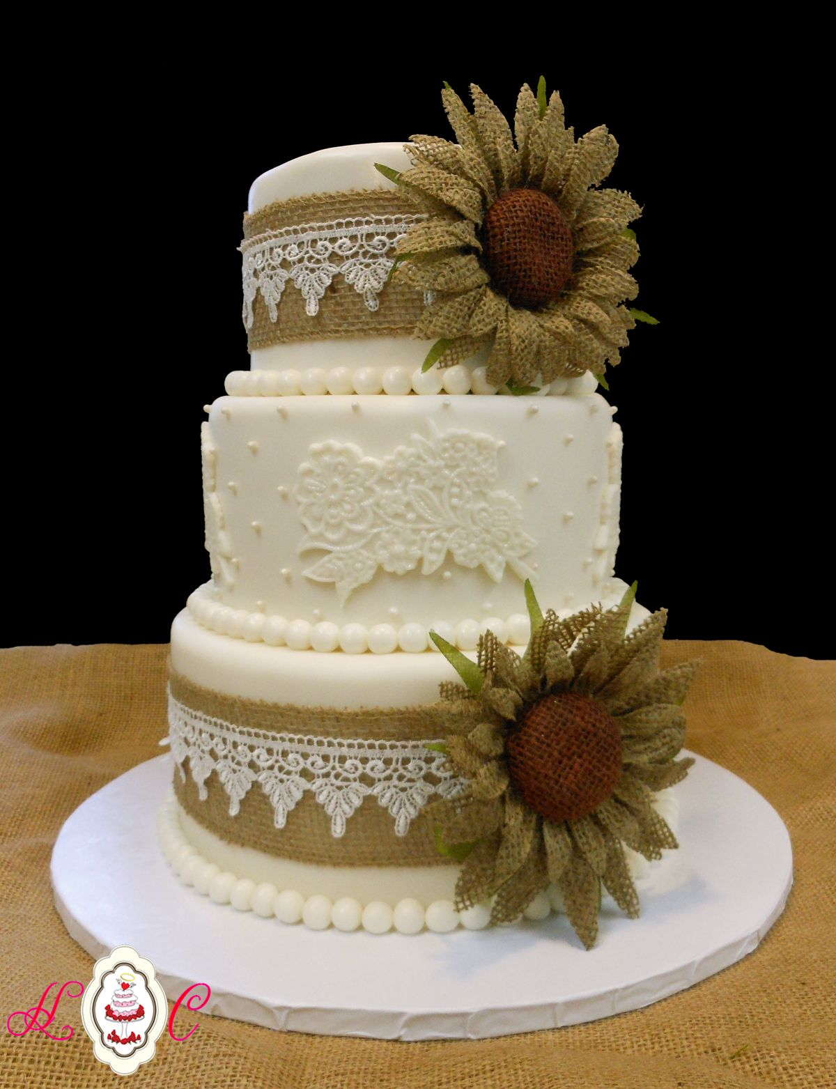 wedding cake toppers rustic Burlap & Lace Sunflower