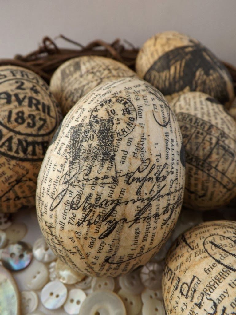 SewforSoul Plastic Easter Eggs Decoupage Tutorial Strips Torn From An Old Book