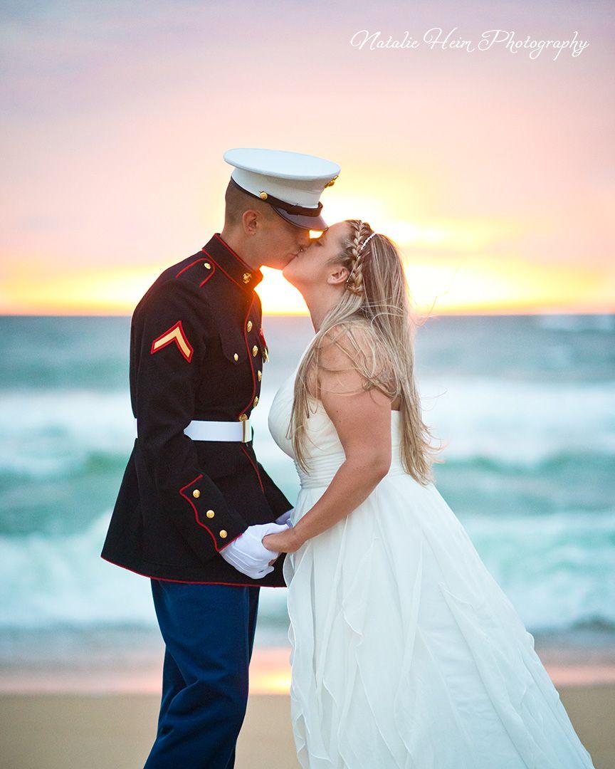 Sunrise beach wedding  Sunrise beach wedding Bride and Groom portrait Groom is wearing his