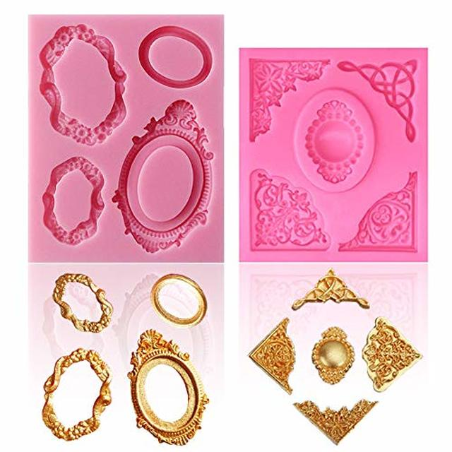 Sakolla Vintage Frame Silicone Molds Baroque Style Picture Frame Molds For Fondant Cake Decorating Cupcake Topper Polymer Clay In 2020 Picture Frame Molding Fondant Molds Cupcakes Decoration