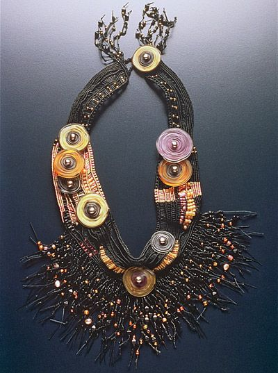 Necklace | Sandy Swirnoff.  Fiber, Hand-Fired Glass Discs, Seed Beads, Pearls