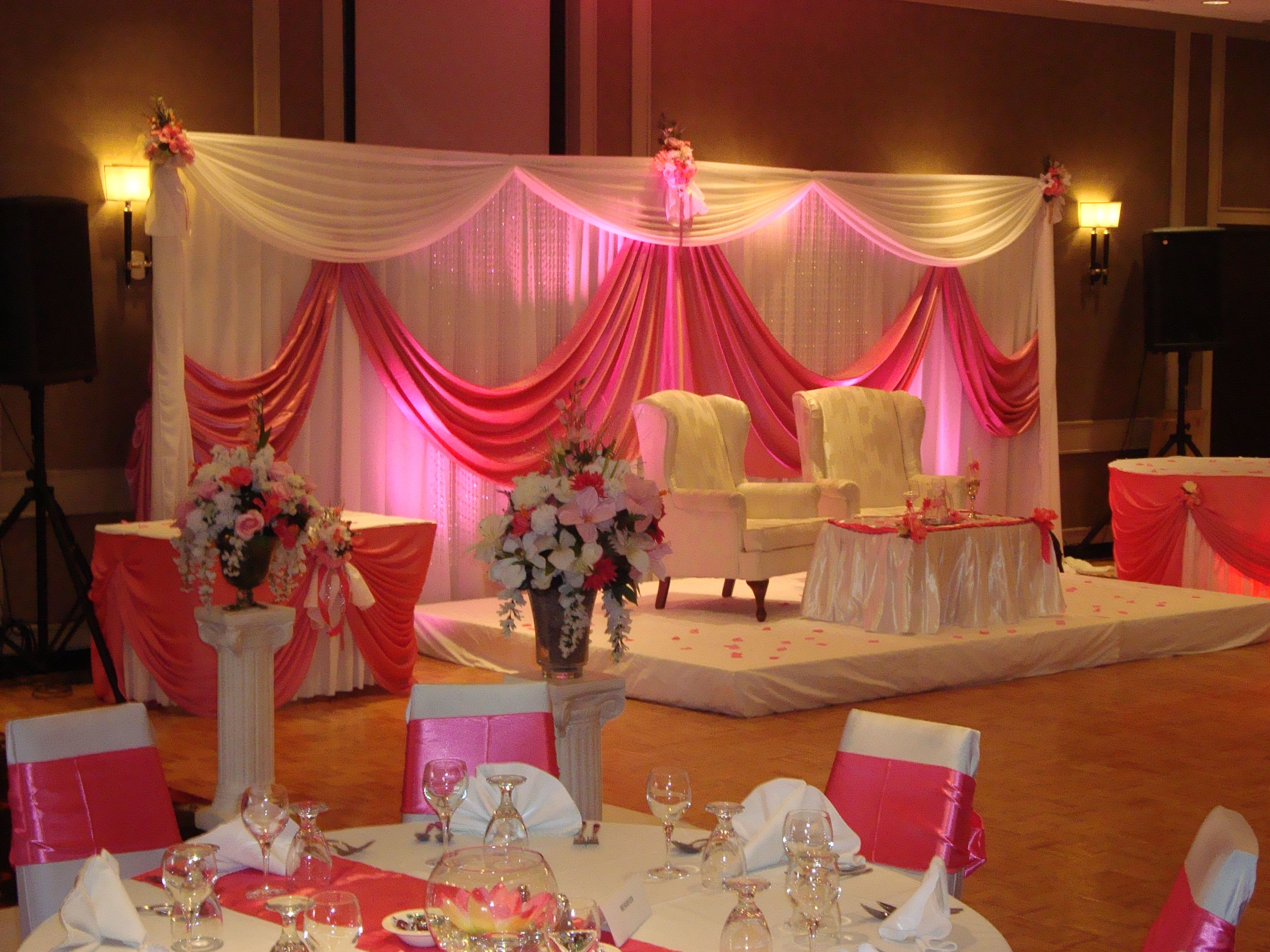 Wedding stage decorations wedding reception decoration for Wedding hall decoration items