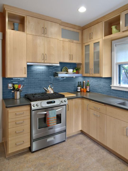 Birch Cabinets With Blue Glass Tile Back Splash Home Remodel