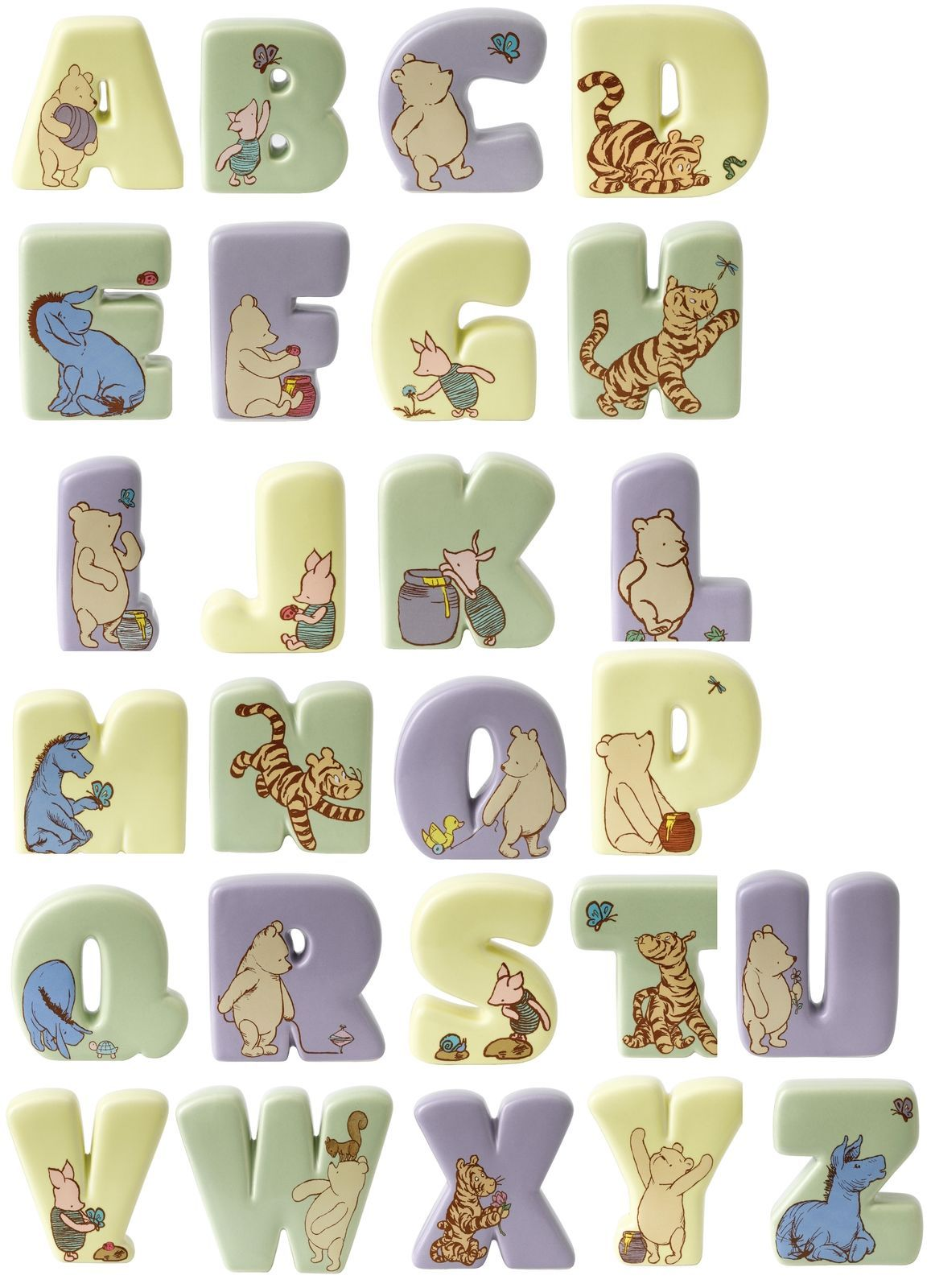 Disney Clic Winnie The Pooh Border Fine Art Ceramic Alphabet Letter Letters
