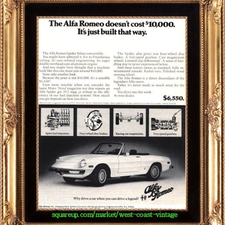 1974 Alfa Romeo Spider Veloce 10,000 car Vintage Ad from West Coast ...
