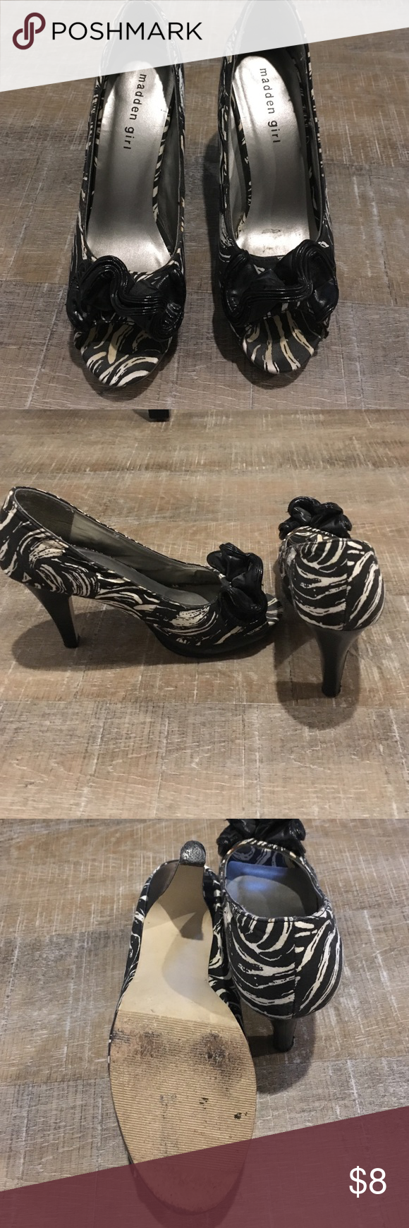 Madden girl heels Black and white madden girl heels with black bow detailing Madden Girl Shoes Heels